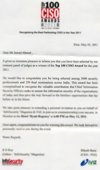 Jawed Ahmed Sterlite Technologies top 100 CISO award 2011
